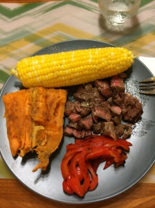 steak, grilled peppers, sweet potato and corn.  Perfection.