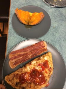 omelet, and turkey bacon and a sweet potato with sugar free syrup