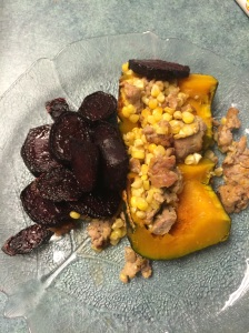 half a turkey sausage stuffed squash and roasted beets