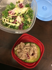 avocado, with tuna and apple mixed with a little greek yogurt.  and old faithful super kale salad.